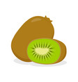 kiwi whole fruit and half vector image vector image