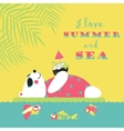 Little cute polar bear swimming with air mattress vector image vector image