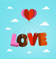 love and heart paper cut symbols flying on blue vector image