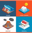 natural disasters isometric design concept vector image vector image