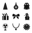 new year magic icons set simple style vector image