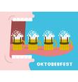 Oktoberfest poster Drinking many mug of beer Man vector image vector image