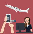 online booking plane via phone airline flights vector image
