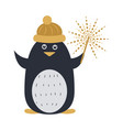 penguin in yellow cap and with sparkler in hand vector image vector image