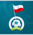 poland flag pinned to a soccer ball european vector image vector image