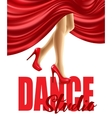 poster for dance studio with female legs in vector image