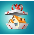 Real estate in a gift box vector image vector image