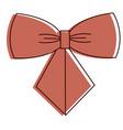 ribbon bown decorative icon vector image