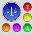 scales Icon sign Round symbol on bright colourful vector image vector image