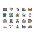 set american culture color line icons bald vector image