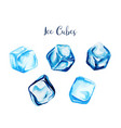 set five watercolor ice cubes hand drawn vector image
