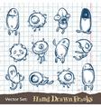 set hand drawn freaks vector image