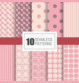 set of 10 seamless patterns with pastel geometry vector image vector image