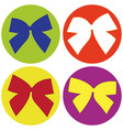 set of icons with colored bows vector image