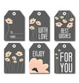 set or 6 gift tags for packaging vector image