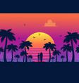 silhouettes tropical summer palm trees surfer vector image