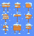 snowed sign boards blank brown wooden signpost vector image vector image