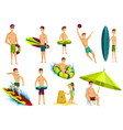 summer beach activities collection beach vector image