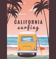 surfer orange bus van camper with surfboard on vector image vector image