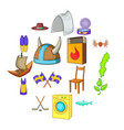 sweden icons set cartoon style vector image vector image