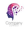 symbol of human head profile face violet vector image