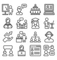 teacher and presentation icons set line style vector image vector image