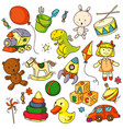 toys doodles funny children toys object sketches vector image