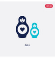 two color doll icon from halloween concept vector image vector image