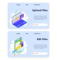 upload files website landing page template vector image