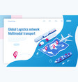 web template banner global logistics network flat vector image vector image
