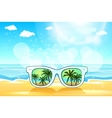 White Sunglasses reflection sunset at palm tree vector image vector image