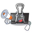 With megaphone binder clip in the character shape