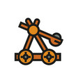 wooden catapult icon on white background vector image vector image