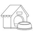 wooden dog house with dish isolated icon vector image vector image