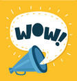wow message into speech bubble of megaphone vector image vector image