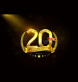 20 years anniversary with laurel wreath golden vector image vector image
