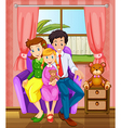 A smiling family inside the house vector image vector image