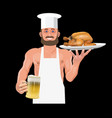 bartender holding beer and fried chicken vector image vector image