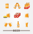 beer flat icons set oktoberfest vector image