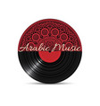 black vinyl disk record with red mandala vector image vector image