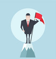 businessman with flag on a mountain peak vector image vector image