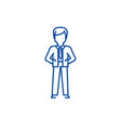 businessman with hands back line icon concept vector image vector image