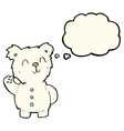 cartoon polar bear with thought bubble vector image vector image