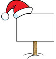 cartoon sign with a santa hat on it vector image vector image