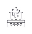cooking in the kitchen line icon concept cooking vector image vector image