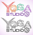 Creative logo of yoga studio with womens vector image vector image