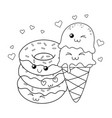 delicious sweet donuts and ice cream kawaii vector image
