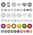 different label flat icons in set collection for vector image
