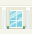 entrance or balcony glass doors and white columns vector image vector image