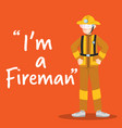 fireman smiling character on orange background vector image